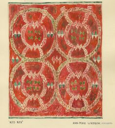 """Skiss """"Röd Rya"""" Textiles, Textile Patterns, Print Patterns, Rya Rug, Textile Artists, Women In History, Painting Inspiration, Weaving, Graphic Design"""
