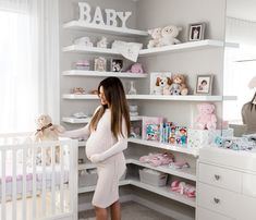 Transform a walk in closet into a magical nursery. Shown here from Ethan Allen: Carolwood dresser with changing table topper, Carolwood crib, Pink Dotty Crib Sheet, Grey Mickey Mouse Hugs and Kisses Matelassé Stroller Blanket & Pink Knit Stroller Blanket. Also shown are the Classic Pooh plush stuffed animal bear, Bambi swaddle blankets from Aden by Aden + Anais, and Disney Baby My First Year, My First Words & My First Colors books. Image source @jessimalay. #EthanAllenxDisney…