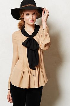 Bowed Peplum Blouse #anthropologie