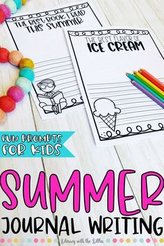 This print and go summer writing journal is a great way for little ones to get extra writing practice while writing about fun summer things. Help prevent the summer slide by giving student's a fun way to practice writing while expressing themselves. It comes with journal pages for student's to write about whatever they want, and it also includes fun summer themed writing prompts to spark their thoughts.