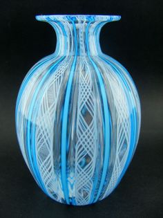 MURANO GLASS VASE RETICELLO GLASS FACTORY L. CAMPANELLA