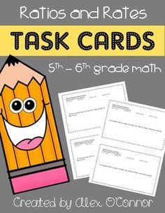 Math Task Cards (Ratios and Rates) for 5th-6th grade math! This unit focuses entirely on ratio and rate problems. Each task card includes 2-4 math problems for a specific concept (17 total problems). Includes ratios, unit rates, ratio tables, equivalent ratios, and more!