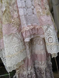 Beautiful pink perfection of fabric and lace combinations.