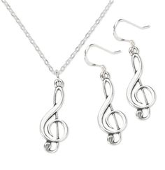 Treble Clef Earrings Necklace Set brings music to your ears. Makes a fun gift for a musician.