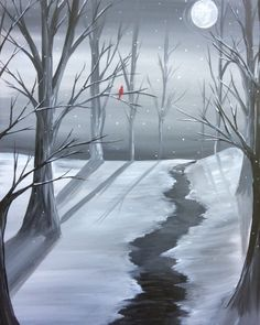 Learn to Paint Icy Winter Stream tonight at Paint Nite! Winter Painting, Winter Art, Easy Paintings, Landscape Paintings, Wine And Canvas, Paint And Sip, Christmas Paintings, Learn To Paint, Winter Scenes