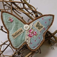 fabric and paper butterfly
