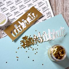 Gold Glitter Flakes for a perfect drop shadow effect.  #ADTTipsandTricks #techniquetuesday