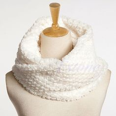Nice Women Winter Warm Faux Fur Infinity Circle Cable Cowl Neck Long Scarf Shawl-Y107