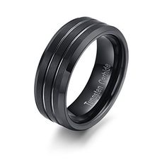 RAUL FANT 8mm Black Tungsten Men's Ring Brushed Polished Beveled Edge Double Groove Wedding Band