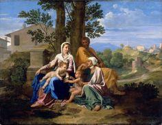 Пуссен - Святое семейство со свв.Елизаветой и Иоанном Крестителем (ок.1650) (94 х 122) (Париж, Лувр)