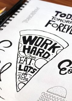 Handlettering ~ work hard and eat lots of pizza Hand Lettering Quotes, Typography Quotes, Typography Inspiration, Typography Letters, Brush Lettering, Typography Design, Calligraphy For Beginners, Beautiful Lettering, Quotes About Moving On