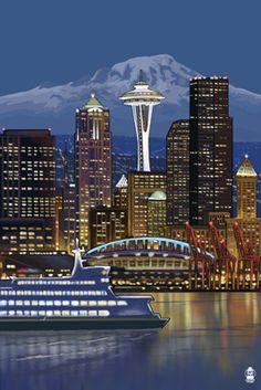 Seattle, Washington at Night - Image Only - Lantern Press Poster