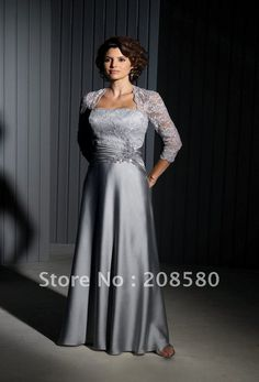 Grey 3/4 sleeves lace floor length satin mother of the bride dresses gowns zipper back M383-in Mother of the Bride Dresses from Apparel & Accessories on Aliexpress.com