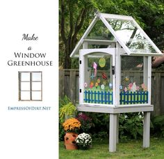 How to make a mini window greenhouse using salvaged wooden windows.