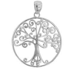 Southern Gates Sterling Silver 20MM Round Southern Oak Tree Pendant