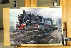 watercolor painting -THE OLD BLACK TRAIN