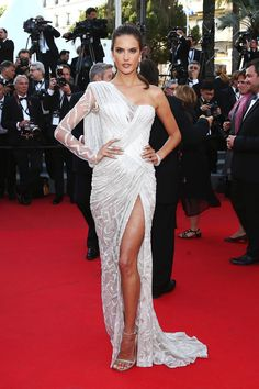 Alessandra Ambrosia in Atelier Versace | Cannes Fashion - Red Carpet Dresses at Cannes 2014 - Harper's BAZAAR