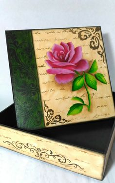 Decoupage Box, Altered Boxes, Wooden Art, Stenciling, Vintage Wood, Cactus, Arts And Crafts, Pottery, Rose