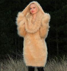 Beige camel dress glamorous hand knit mohair sweater fuzzy cowlneck SuperTanya  #SuperTanya #CowlNeck