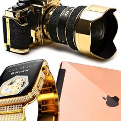 Behold, The World's Most Glamorous Tech Gadgets Ever The Zoe Report, Wearable Technology, Camera Nikon, Tech Gadgets, Girl Gifts, Apple Watch, What To Wear, Bangles, Glamour