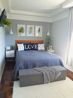 Small Bedroom Ideas That Looks Stylishly and Space Saving Small Room Bedroom, Bedroom Colors, Home Decor Bedroom, Tiny Master Bedroom, Bedroom Signs, Bedroom Black, Small Rooms, Bed Room, Small Spaces