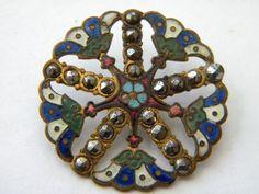 Antique enamel brass metal button w/cut steels &  cloisonne champleve flower