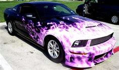 Airbrushed Mustang Fire Flame Theme .