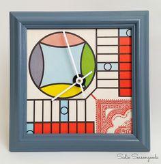 Vintage Parcheesi Game Board Clock from Sadie Seasongoods