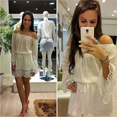 Laço branco fora do ombro Mini Vestidos mulheres manga comprida Lace barra Lace vestido de noite Vestidos de festa vestido Casual Vestidos