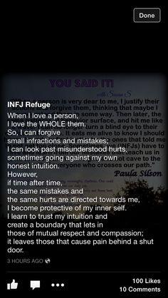 INFJ... Endless forgiveness until suddenly, door slam. No- no door slam for me, just a quiet disappearance.