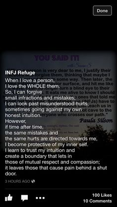 INFJ... Endless forgiveness until suddenly, door slam.