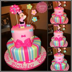 I love the colors on this cake.not necessarily that it's Minnie Mouse. Minni Mouse Cake, Minnie Mouse Birthday Cakes, Birthday Cake Girls, 2nd Birthday, Mickey Birthday, Birthday Ideas, Mickey Mouse, Bow Cakes, Cupcake Cakes