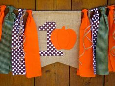 Little Pumpkin Birthday Banner HighChair High Chair Orange  Brown Green Polka Dots Fall Autumn Party Garland One First Cake Smash Photo Prop by SeacliffeCottage on Etsy https://www.etsy.com/listing/242019730/little-pumpkin-birthday-banner-highchair