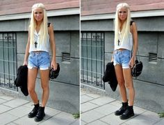 Shorts + crop top + docs = perfect summer/fall outfit