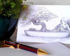 Postal de felicitación - Ilustración fantasía  - Árbol Bonsai