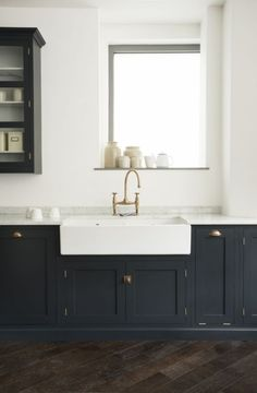 Black cabinetry: http://www.stylemepretty.com/living/2016/11/03/interior-design-trends-that-arent-going-anywhere/ Source by: Remodelista - http://www.remodelista.com/posts/devols-new-kitchen-showroom-in-london/