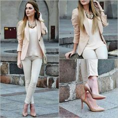 Cream outfit, light pink outfit, statement bead necklace, louboutin heels, nude heels, nude pants