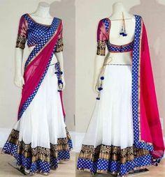 choli_white lehenga with beautiful border-latkan_perfect for navratari Lehenga Crop Top, Lehenga Saree, Saree Dress, Sari, Half Saree Designs, Blouse Designs, Saree Styles, Indian Sarees, Indian Wear