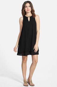 EVERLY Keyhole Shift Dress poly black 32-35L szS 48.00