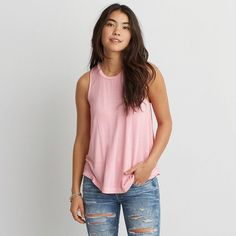 AEO Soft & Sexy Drapey Tank ($18) ❤ liked on Polyvore featuring tops, pink, sexy tops, american eagle outfitters, sleeveless tops, drape top and drapey tank tops