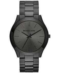 Michael Kors Men's Slim Runway Black Ion-Plated Stainless Steel Bracelet Watch 44mm MK8507   macys.com