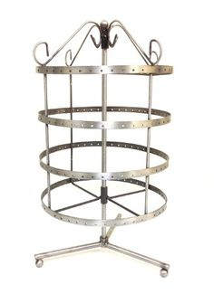 4 Tiers Rotating 92 pairs Earring Holder ~Necklace Organizer Stand ~ Jewelry Stand Display Rack Towers (Antique Silver) Bejeweled Display
