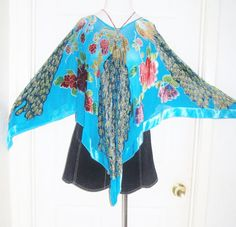 Sheer chiffon AQUA blue turquoise beaded  by THEHIPPIEGYPSYVTG, $60.00