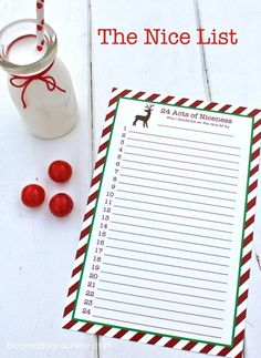 Nice List- Free printable.  Fill out one nice act per day all of December