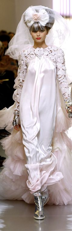 Chanel ~ Artistic Couture Spring White Silk Charmeuse Dress with Embellished Embroidery 2010