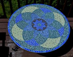 SOLD 36 Round Blue/Green/Yellow Mandala Glass Mosaic