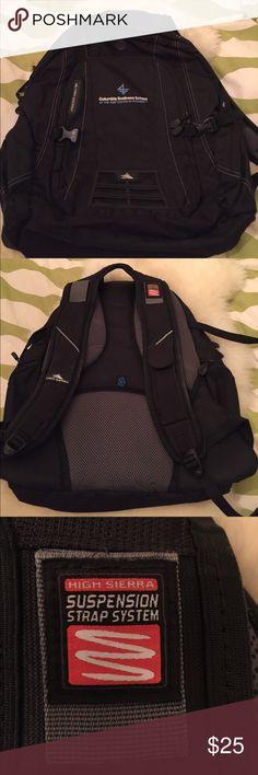 High Sierra large laptop sleeve backpack EUC backpack- Columbia Business school backpack made by High Sierra- 2 large compartments- 1 for large laptop sleeve and one smaller with many compartments. Two side zipper pockets. High Sierra Bags Backpacks