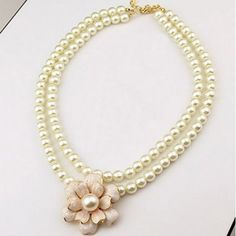 Korean Style Fashion Pearl Camellia Dual Necklace (Free Shipping)
