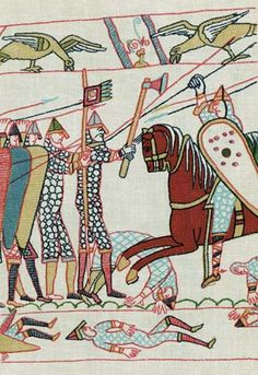 Bayeux Tapestry: scene from the Battle of Hastings [Photograph]. Description from kids.britannica.com. I searched for this on bing.com/images