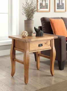 Antique Pine Storage End Table Traditional Nightstand Bedroom Furniture New #table